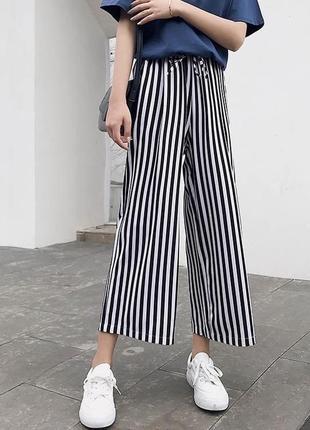 Полосатые кюлоты женские штаны повседневные брюки черно-белые2 фото