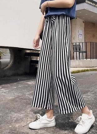 Полосатые кюлоты женские штаны повседневные брюки черно-белые1 фото