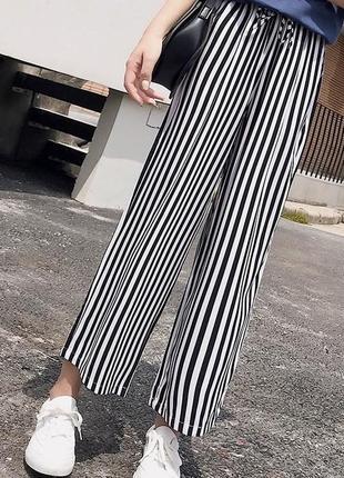 Полосатые кюлоты женские штаны повседневные брюки черно-белые4 фото