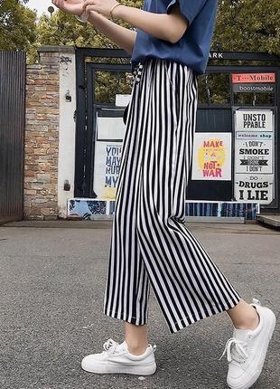 Полосатые кюлоты женские штаны повседневные брюки черно-белые5 фото