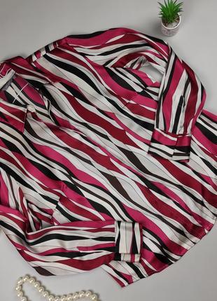 Блуза рубашка шелковая легкая в полоску 100% шёлк marks&spencer uk 16/44/xl