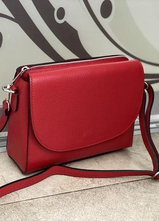 Сумка шкіряна італійська красная сумка кожаная сумка через плечо