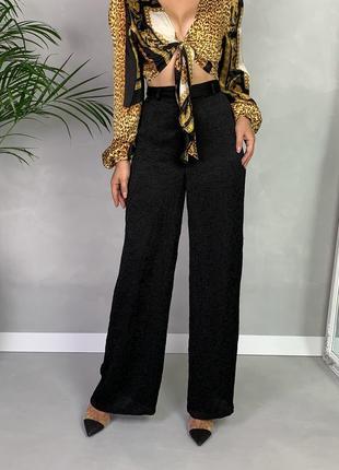 Широкие шёлковые брюки палаццо жатка