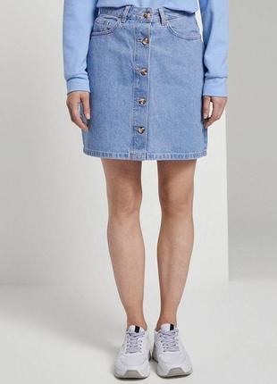 Джинсовая юбка на высокой посадке tom tailor