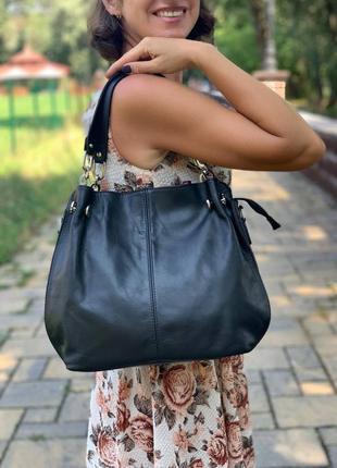 Кожаная черная сумка на плечо, италия, цвета в ассортименте