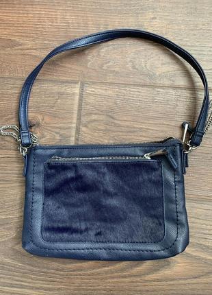 Синяя сумочка клатч next из вставкой кожи