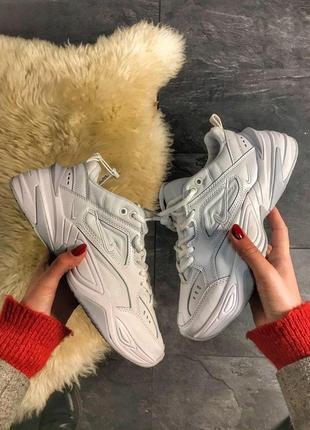 Nike m2k tekno triple white кроссовки найк женские техно м2к обувь