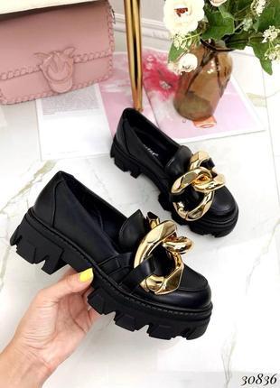 Туфли лоферы эко-кожа черный