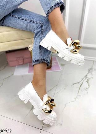 Туфли лоферы эко-кожа белый5 фото