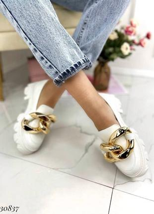 Туфли лоферы эко-кожа белый4 фото