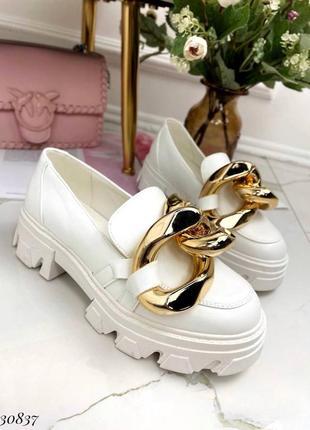 Туфли лоферы эко-кожа белый6 фото