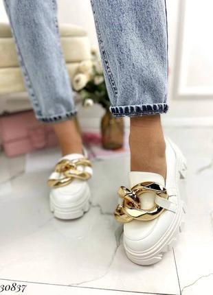 Туфли лоферы эко-кожа белый3 фото