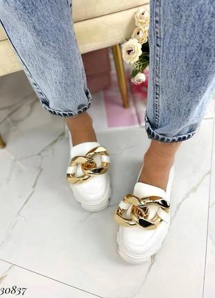 Туфли лоферы эко-кожа белый2 фото