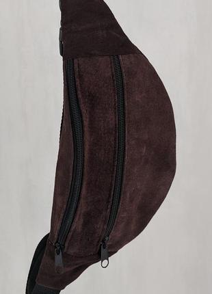 Бананка кожа шкіра замша эко-сумка на пояс ручная работа мини шоколадная темная б9