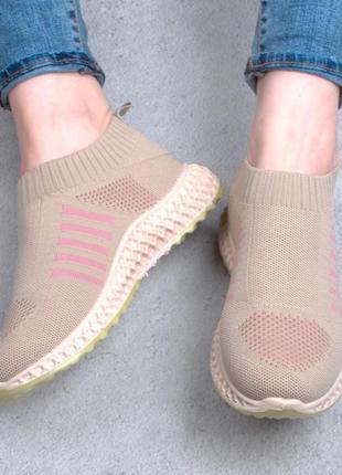 Стильные бежевые кроссовки кеды мокасины из текстиля сетка летние дышащие слипоны