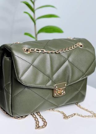 Красивая сумочка хаки с ремешком