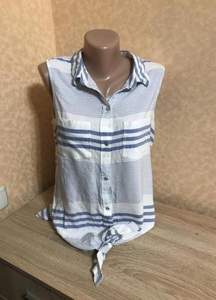 Воздушная хлопковая блуза без рукавов