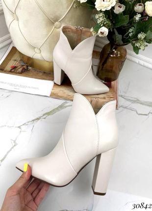 Сапоги ботинки ботильоны эко-кожа светло бежевый10 фото