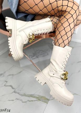 Сапоги ботинки эко-кожа бежевый5 фото