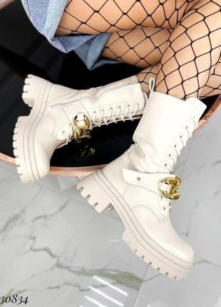 Сапоги ботинки эко-кожа бежевый3 фото