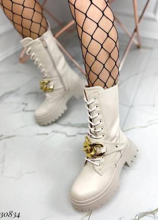 Сапоги ботинки эко-кожа бежевый2 фото