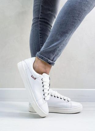 Белые женские кожаные кеды с 32 по 41 размер