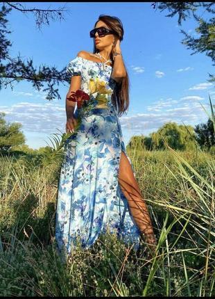 Платье макси открытые плечи декольте фонарики французское декольте с разрезом