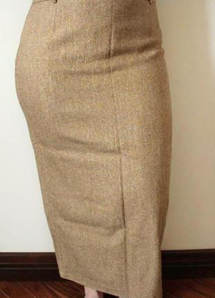 Песочная длинная юбка-карандаш из натуральной шерсти и шёлка (размер 14/42)