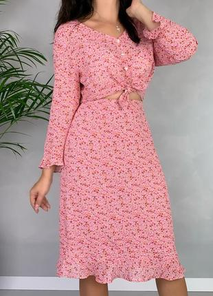 Брендовый костюм с юбкой цветочный принт m&s