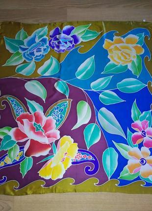 Прекрасный винтажный большой шелковый платок,шов роуль