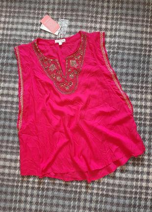 Новая легкая вискозная блуза майка / накидка на купальник