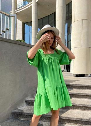 Женское платье свободного кроя жатый лён