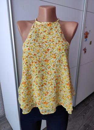 Майка разлетайка желтая в цветочный принт тренд сезона zara basic легкая летняя