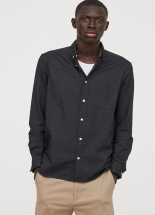 Рубашка regular fit  темно зеленый h&m