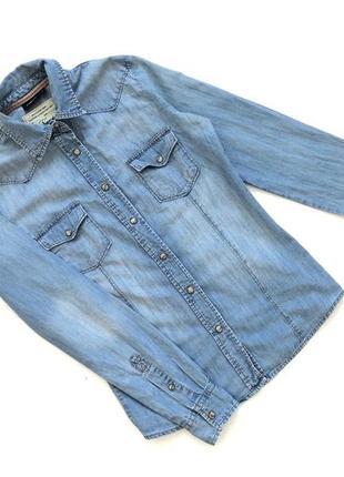 Голубая джинсовая качественный рубашка next  размер 6