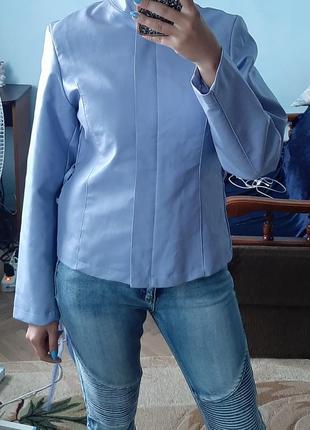 Нова жіноча куртка голуба косуха з екошкіри/женская косуха еко кожа