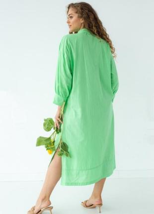 Шикарное хлопковое салатовое платье рубашка с пояском 💚5 фото
