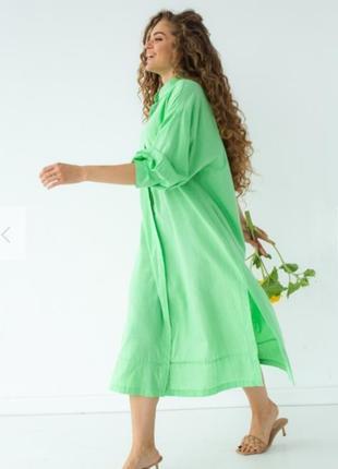 Шикарное хлопковое салатовое платье рубашка с пояском 💚4 фото