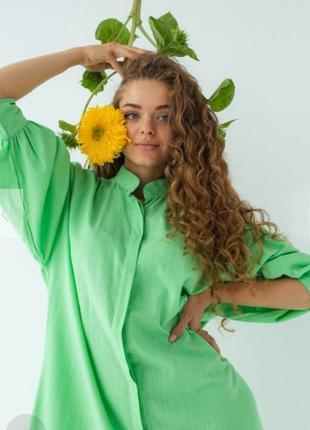 Шикарное хлопковое салатовое платье рубашка с пояском 💚1 фото