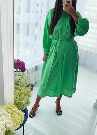 Шикарное хлопковое салатовое платье рубашка с пояском 💚6 фото