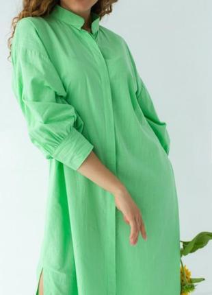 Нереальное хлопковое салатовое платье рубашка с пояском 💚