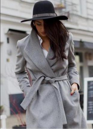 Светло- серое пальто-халат с запахом классическое, с поясом bershka, s, m, оригинал