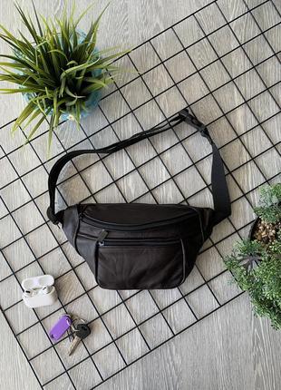 Бананка кожа шкіра эко-сумка на пояс ручная работа большая темно-коричневая б12