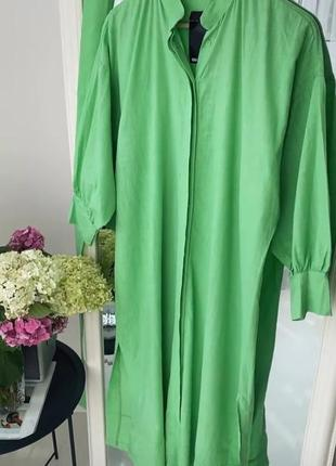 Шикарное хлопковое салатовое платье рубашка с пояском 💚7 фото