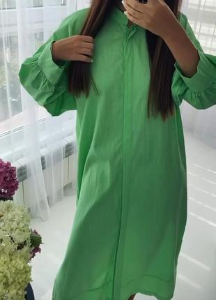 Шикарное хлопковое салатовое платье рубашка с пояском 💚8 фото