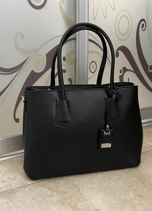 Чёрная сумка кожаная сумка а4 деловая сумка сумка чорна жіноча а4