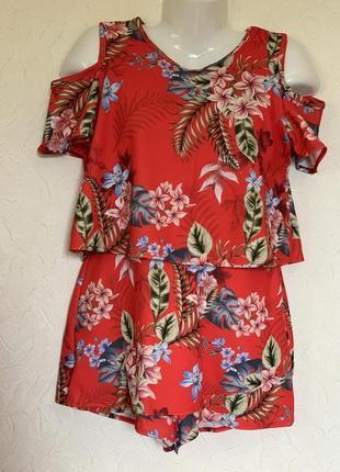 Яркий ромпер комбинезон юбка- шорты