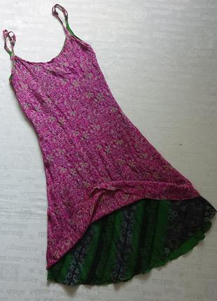 Трендовое шелковое платье на тонких бретелях, двойное с цветочным принтом