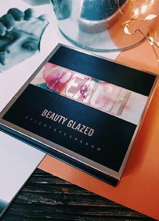 🍑🌺персиковая палетка теней для век beauty glazed pressed powder eyeshadow peach palette  (9 color)5 фото