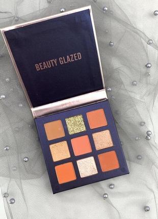 🍑🌺персиковая палетка теней для век beauty glazed pressed powder eyeshadow peach palette  (9 color)2 фото